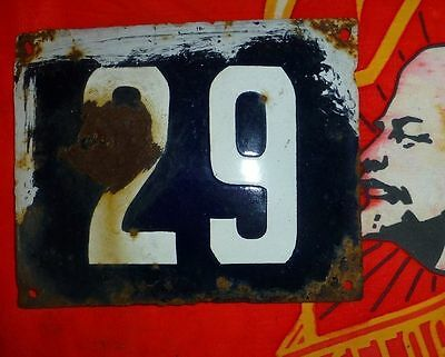 Vintage old USSR RUSSIA enamel street sign 29 home namber 14x11cm 1950s