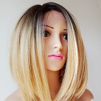 Synthetic Graduated Bob Style Lace Front Wig Brown Roots/Blonde Ombre 12""