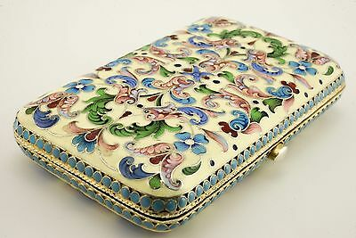 Antique Russian 84 Silver Shaded Enamel Cigarette Case Moscow Saltykov 1899-1908