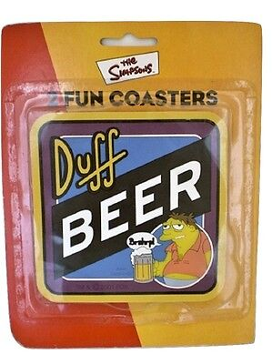 SIMPSONS COASTER SET of 2 Duff Beer NEW SLIGHTLY DAMAGED PACKAGING
