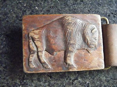 Hand Carved Wooden BUFFALO Belt Buckle - Attractive Vintage Styling