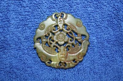Beautiful 19thC Chinese Green Jade Carved & Pierced Pendant Moths & Flower EXC
