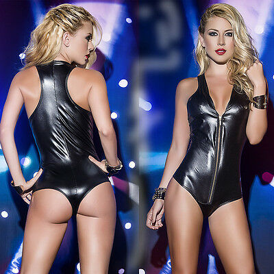 Faux Leather Zip Up Lingerie Stripper Bodysuit