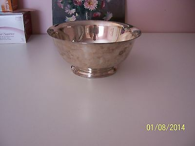 """vinage antique signed EB Rogers Silver CO 1883 8"""" footed Bowl silver on copper 8"""