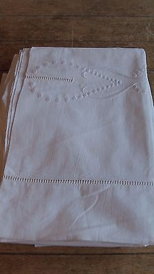 French Vintage Pretty White Cotton Embroidered Sheet  L 280 cm x W 210 cm