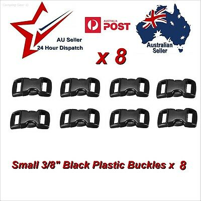 "8 x Small 3/8"" 10mm Black Plastic Buckles for Paracord bracelets etc buckle clip"