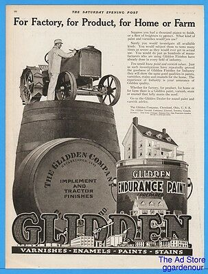 1918 Glidden Varnish Company Cleveland OH Tractor Home Vintage Advertising