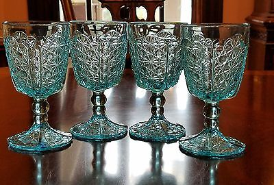 "L. G. Wright ""Daisy and Button"" Blue 10 oz. water glasses set of 4"