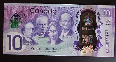 CANADA 2017 $10 150 Anniversary Polymer Banknote  UNC, CDA serial number