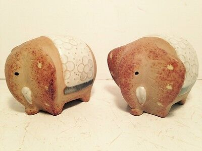 Stoneware Glazed Elephant Salt Pepper Shakers Dining Tableware