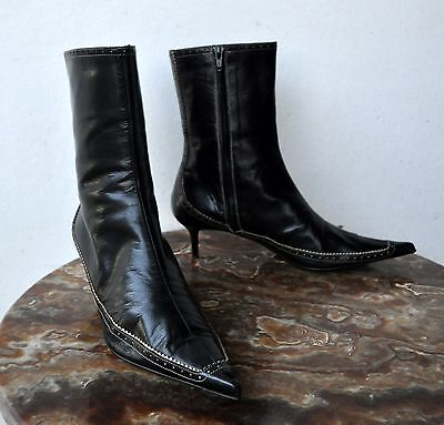 d88236ea82 Studio Pollini Black Leather Pointed Toe Ankle Boots Sz 39 Italy Sold Out!  Rare!