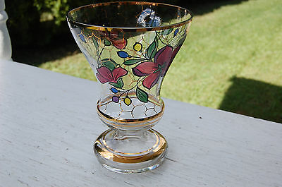 Vintage Decorative Glass Flower Vase/mid Century/hand Painted