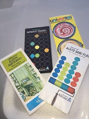 Vintage Advertising Lot Of 4 Benjamin Moore Paints Color Pamphlets 1970's