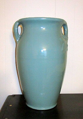 "RRP Co. Robinson Ransbottom 14"" art pottery vase double handle Teal"