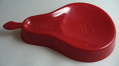 Vintage Red Plastic Pear Spoon Rest By Fuller Brush Advertising Made In