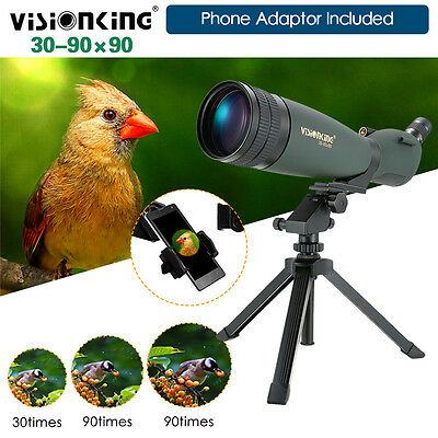 Visionking 30-90x90 Spotting Scope W/Cell Phone Adaptor Carry Tripod Astronomy