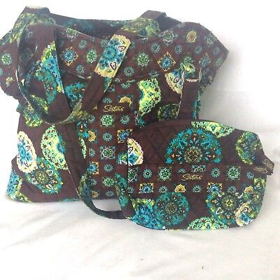 ADORN Turquoise & Brown Sisters STACIE Quilted PURSE Longaberger Lots of Pockets