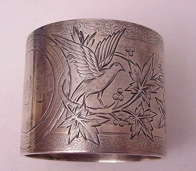 Antique Victorian Engraved Heavy Sterling Napkin Ring Birds Leaves Berries S 280