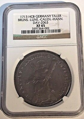 1713 XF 45 George Brunswick Hannover Taler Coin NGC