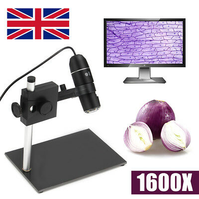 1000X-1600X USB Digital Microscope Magnifier Video Camera w/ Adjustable Stand UK