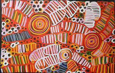 Huge Aboriginal Art Painting Witchetty Grubs 220cm Wide 140cm High By Jane COA