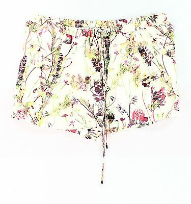 Haute Hippie NEW White Womens Size Large L Floral Print Silk Shorts $245 387