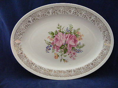 "Knowles Semi Vitreous China 13 5/8"" Oval Serving Platter Gold Trim Pink Roses"