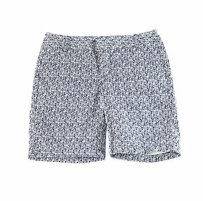 Caslon NEW Blue Womens Size 6 Printed Twill Slim Fit Bermuda Shorts $46 377