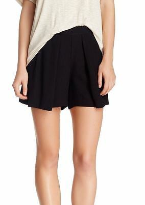 Harlowe & Graham NEW Black Womens Size Large L Pleated-Front Shorts $58- 684