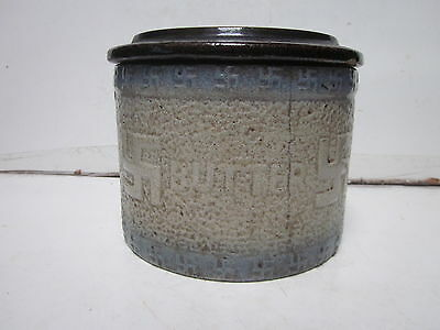 Antique Stoneware Pottery Large Butter Lidded Crock Jar