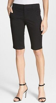 Vince NEW Black Womens Size 0 Slim Fit Twill Zip-Fly Bermuda Shorts $195 103