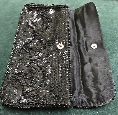 Vintage Black Handworked Beaded Sequin Evening Purse. Unused
