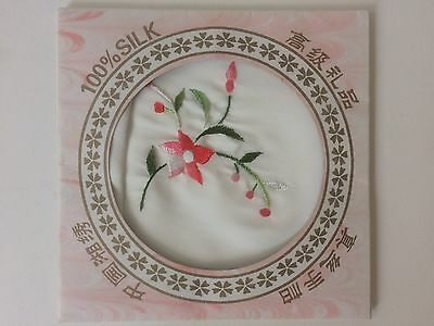 Floral Embroidered Handkerchief Napkin Asian 100% Silk in Pretty Envelope