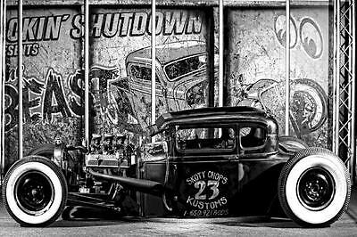HOT Rod Car Vintage Black and White Art silk poster Room Wall Decor 60x90 cm