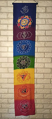 EXTRA LARGE BATIK RAINBOW CHAKRA BANNER / SCROLL WALL HANGING 180cm X 35cm