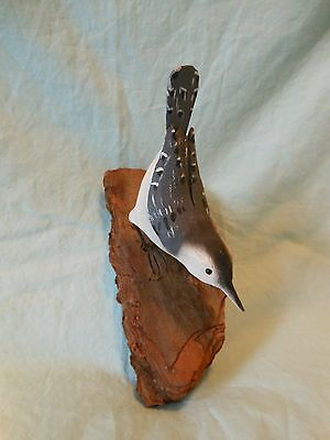 Hand Carved White Breasted Nuthatch Art Sculpture Artist Signed Glass Eyes Bark