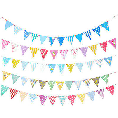2.5M 12 Flags Horse Triangle Pennant Paper Banner Birthday Party Bunting Decor