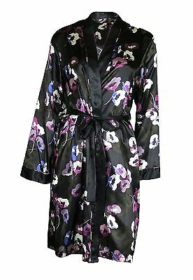 a5aa58ae4e6d Famous Make Satin Dressing Gown Nightwear Night Robe Black Floral UK 16-18  New