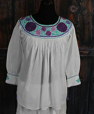 White & Multi-Color Hand Embroidered Blouse Mayan, Chiapas Mexico Peasant Hippie