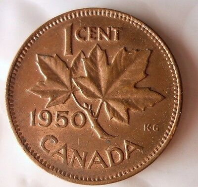 1950 CANADA CENT - Excellent Collectible Coin - FREE SHIPPING - Big Canada Bin