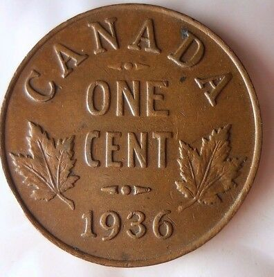 1936 CANADA CENT - Excellent Collectible Coin- FREE SHIPPING - Big Canada Bin