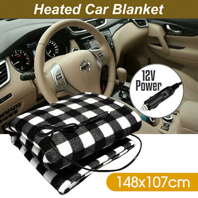 Electric 12V Volt Heated Car Blanket Travel Rug Soft Caravan Fleece Camping AU