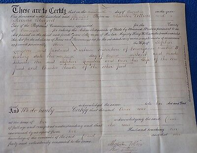 2 Victorian Documents Related to People in Cornwall