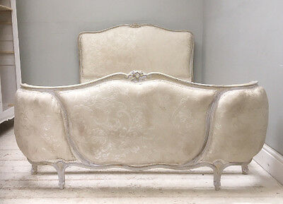 Beautiful Old French Upholstered  Louis Xv Demi-Corbeille Large Double Bed