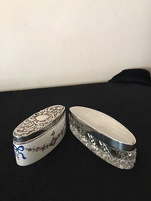 Antique Dressing Table Trinket Boxes, Hallmarked Solid Silver Lids.