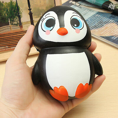 Squishy Penguin Jumbo 14cm Slow Rising Soft Squeeze Charm Stress Relieve Toys UK