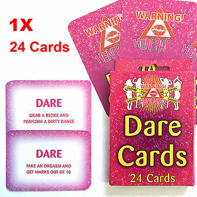 Dare Cards Hens Bachelorette 24 Pk Hen Party Night Game Fun Wedding Girls New