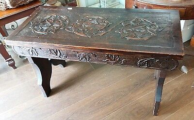 beautiful antique/ vintage carved wooden table/ bench seat, arts and crafts?