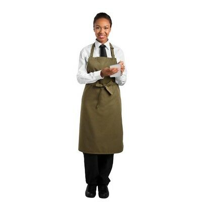 Le Chef Bib Apron Olive Kitchen Cookware Commercial Cooking Polyester Soft
