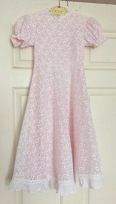 Original Vintage French 60s Sweet Girls Sugar Pink Party Dress Wedding Retro 3